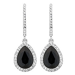 Mood - Jet teardrop crystal surround earring
