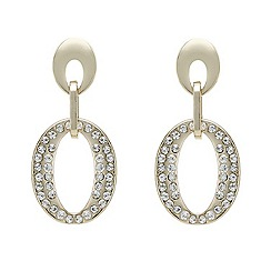 Mood - Gold crystal detailed oval drop earring