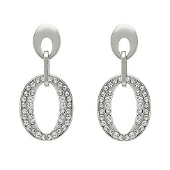 Mood - Crystal embellished oval drop earring