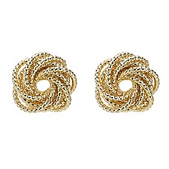 Mood - Gold intricate textured knot stud earring