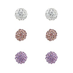 Mood - Set of three blush multi-coloured stud earrings
