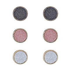 Mood - Set of three round glitter stud earrings