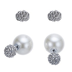 Mood - Crystal ball and pearl double end earring
