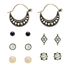 Mood - Set of six black and gold assorted earrings