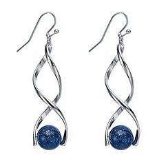 Mood - Double twist and blue bead drop earring