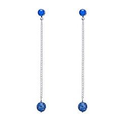 Mood - Blue stone long chain drop earring