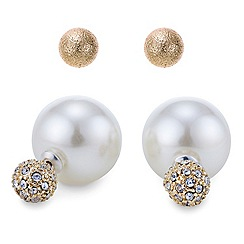 Mood - Pearl and diamante embellished gold double end earring