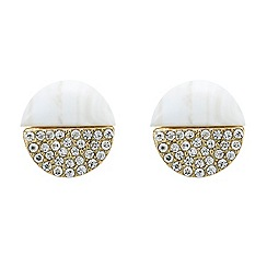 Mood - Marble and rhinestone adorned gold earring