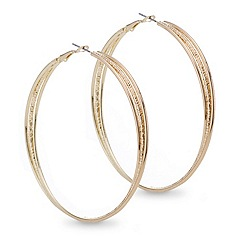 Mood - Gold textured large twist hoop earring