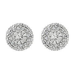 Mood - Round crystal surround silver stud earring