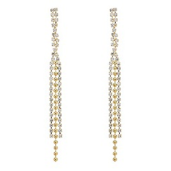 Mood - Crystal embellished three strand gold ball earring
