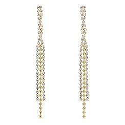 Mood - Crystal embellished three strand gold ball earring