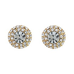 Mood - Round gold crystal surround stud earring
