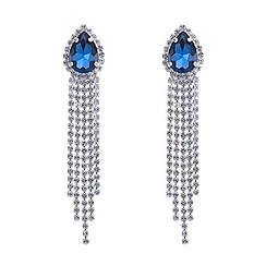Mood - Online exclusive blue teardrop and diamante tassel earring