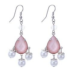 Mood - Pink teardrop and triple pearl droplet earring