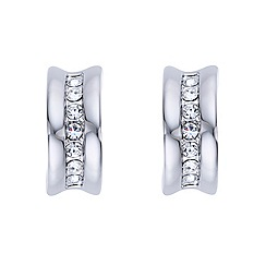 Mood - Crystal embellished silver c-hoop earring