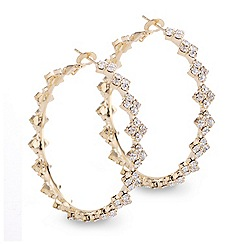 Mood - Crystal diamante gold hoop earring