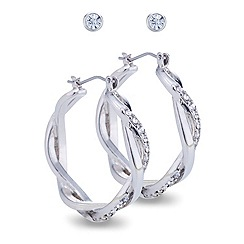 Mood - Set of two crystal embellished twist earring