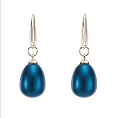 Mood - Teal large pearl gold earring