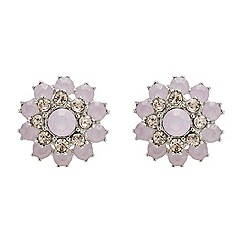 Mood - Pearlescent pink floral crystal earring