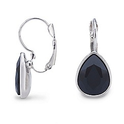 Mood - Silver black tear drop crystal earring