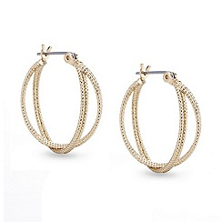 Mood - Gold texture two twist gold thread hoop earring
