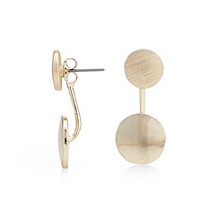 Mood - Gold textured disc ear lobe earring