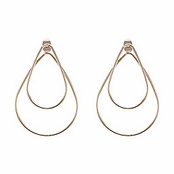 Mood - Large teardrop double loop gold earring