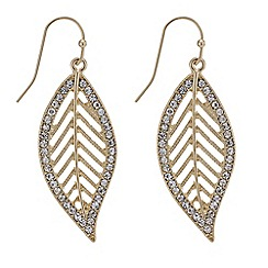 Mood - Crystal surround leaf drop earring
