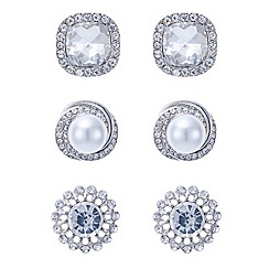 Mood - Triple pack pearl and crystal diamante surround stud earring