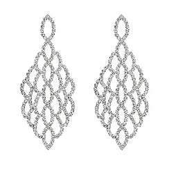 Mood - Diamante embellished silver chandelier earring