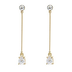 Mood - Long gold crystal teardrop earring
