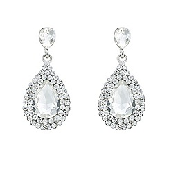 Mood - Silver diamante surround crystal teardrop earring