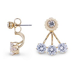 Mood - Triple cubic zirconia gold stud earring