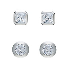 Mood - Set of two silver crystal and polished stud earring