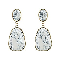 Mood - White marbleized stone statement drop earrings