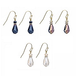 Mood - Set of three faceted bead teardrop earring