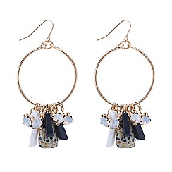 Mood - Multicoloured crystal cluster drop gold hoop earring