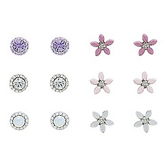 Mood - Set of six crystal floral earrings