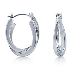 Mood - Silver polish double twist hoop earring