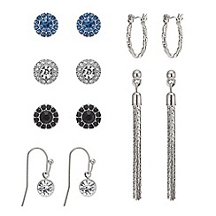 Mood - Set of six silver stud and drop earring