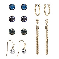 Mood - Set of six gold stud and drop earring