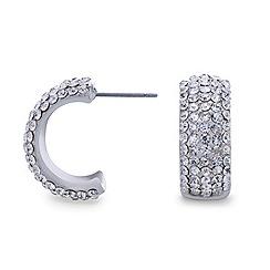 Mood - Silver diamante embellished half hoop earring