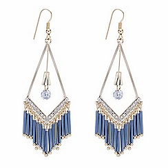 Mood - Gold and blue tassel drop embellished chandelier earring