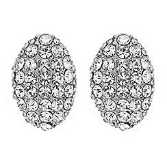 Mood - Silver crystal pave oval stud earring