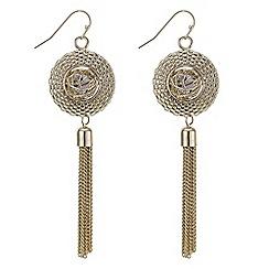 Mood - Gold caged tassel drop earrings