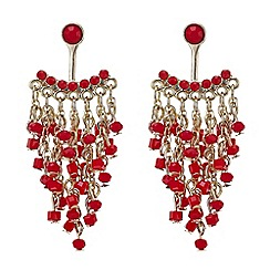 Mood - Red beaded lobe drop earrings