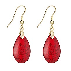 Mood - Red stone teardrop drop earring