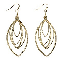 Mood - Gold textured navette intertwined earrings