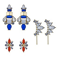 Mood - Set of three stone cluster statement earring